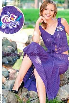 Ажурные юбка и топ с украшением в виде цветка 149