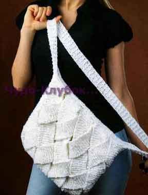 Белая сумка с переплетениями 128