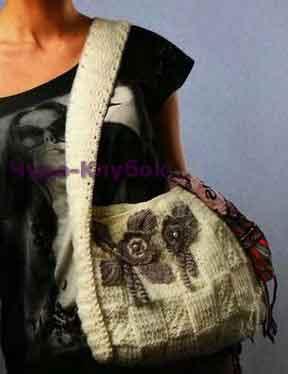 Белая сумка с серыми цветами 134