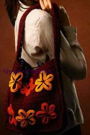 Бордовая сумка с цветами 126