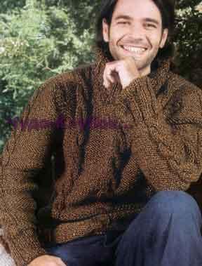 Мужской свитер коричневого цвета с фантазийным узором 209
