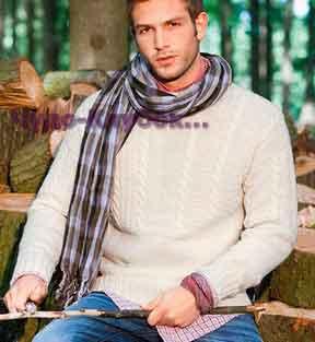 Пуловер натурального цвета с фантазийными узорами 189