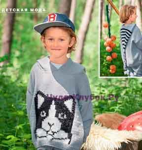 Пуловер с капюшоном с изображением кота 2