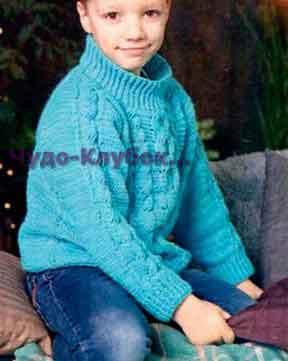Пуловер с косами бирюзового цвета 48