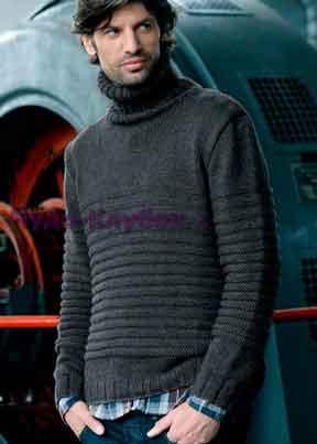 Пуловер с узором в резинку 185