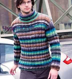 Пуловер в полоску с воротником гольф 197