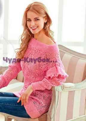 Розовая ажурная туника с рюшами на рукавах 711