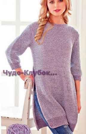 Серо-голубое платье с боковыми разрезами 701