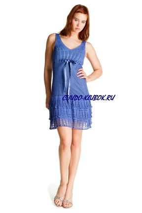 фото Схема вязания ажурного платья крючком 772