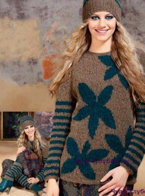 739 Пуловер, шапочка и гетры