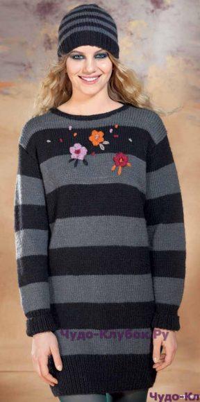 827 Пуловер с вышивкой и шапочка