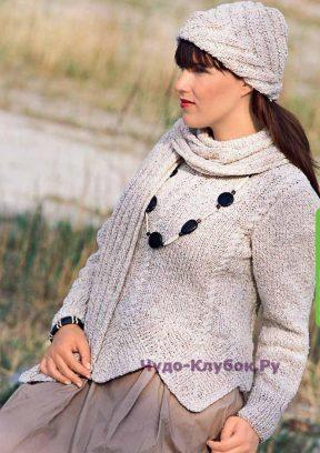 853 Пуловер с ромбами, шапка и шарф