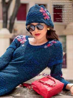 Платье и шляпка с вышитыми цветами 604