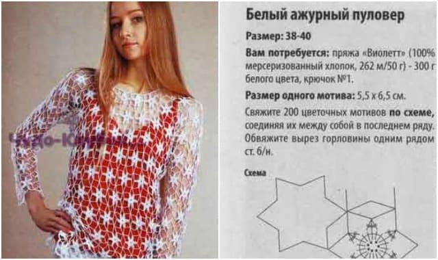 belyj azhurnyj pulover 1715