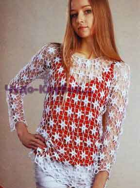 Belyiy azhurnyiy pulover 1715
