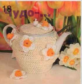 Чехол с цветочным декором для чайника 73
