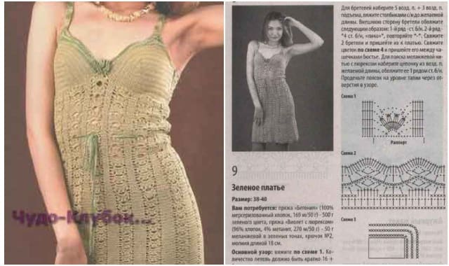 платье с каймой вязаное крючком 734