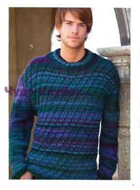 Меланжевый пуловер с рельефным узором 228