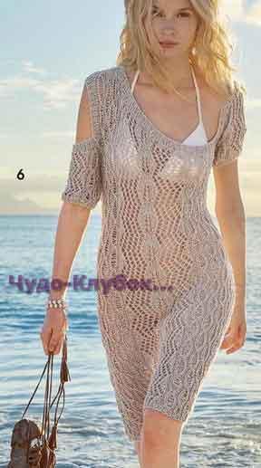 фото Асимметричное платье с комбинацией разных узоров вязаное спицами 749