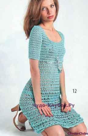 фото Ажурное платье бирюзового цвета с узором ракушки вязаное крючком 736