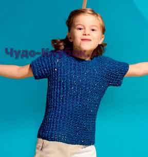 фото Ажурный пуловер для девочки вязаный спицами 63