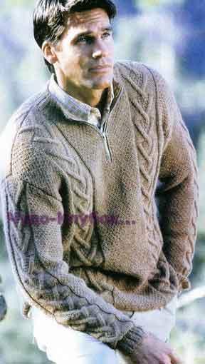 фото Бежевый пуловер с застежкой-молнией вязаный спицами 290