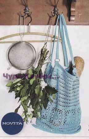 фото Бирюзовая сумка вязаная крючком 191