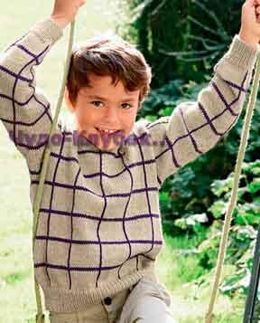 фото Детский пуловер в клетку вязаный спицами и крючком 64
