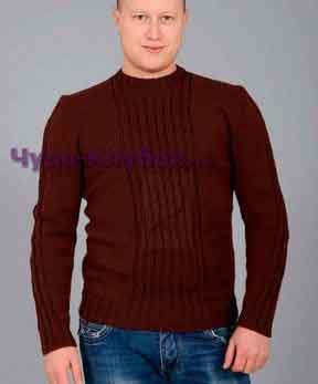 фото Коричневый пуловер вязаный спицами 247