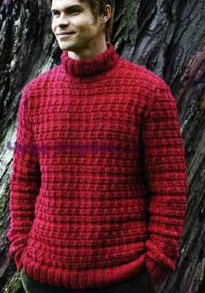 фото Красный свитер вязаный спицами 265