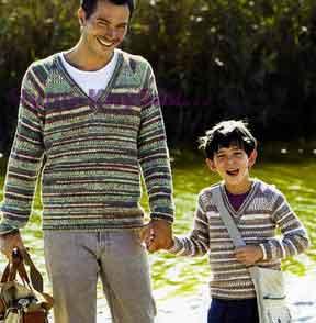фото Меланжевый пуловер для сына и папы вязаный спицами 277