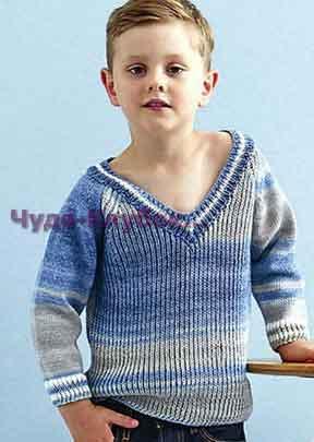 фото Модный универсальный пуловер для детей вязаный спицами 67