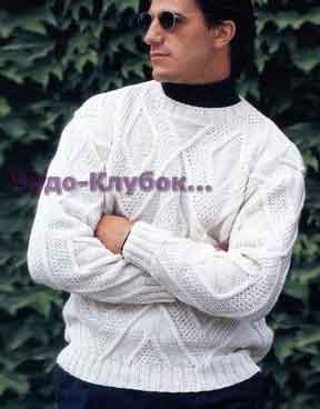 фото Мужской пуловер с ромбами вязаный спицами 285