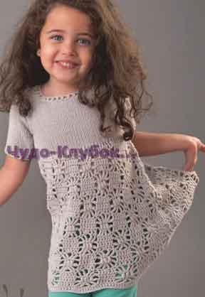 фото Нарядное платье с ажурным низом вязаное спицами и крючком 40