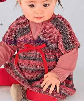 фото Пестрое платье вязаное спицами 32