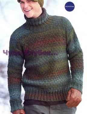 фото Пестрый свитер вязаный спицами 249