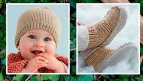 фото Пинетки и шапочка вязаные спицами 6