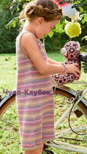 фото Платье без рукавов в полоску вязаное спицами 33