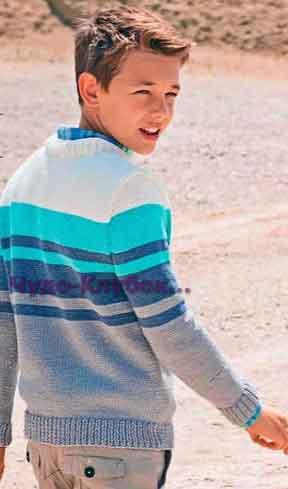 фото Полосатый пуловер для мальчика вязаный спицами 59