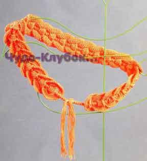 фото Пояс оранжевого цвета вязаный крючком 27