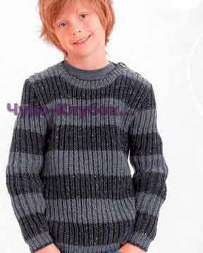 фото Пуловер для мальчика с патентным узором вязаный спицами 57