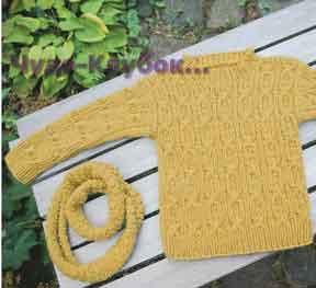 фото Пуловер и хомут вязаные спицами 73