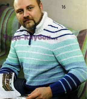фото Пуловер с воротником поло вязаный спицами и крючком 278