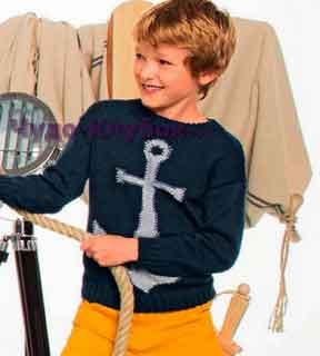 фото Пуловер с якорем вязаный спицами 70