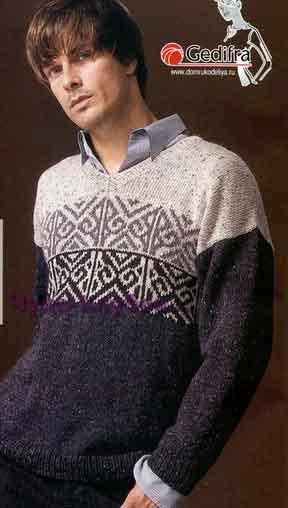 фото Пуловер с жаккардовым узором вязаный спицами 255