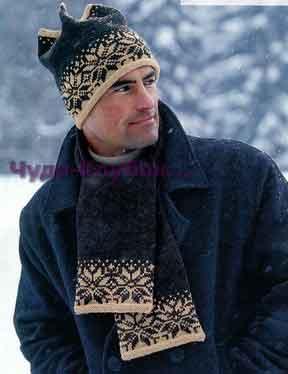 фото Шапка и шарф с жаккардовым узором вязаные спицами 264
