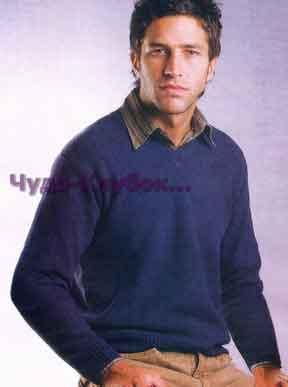 фото Синий пуловер для мужчины вязаный спицами 295