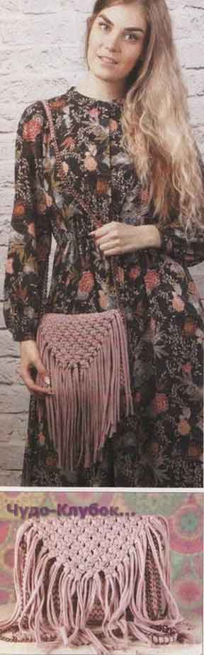 фото Сумка с бахромой вязаная спицами 190