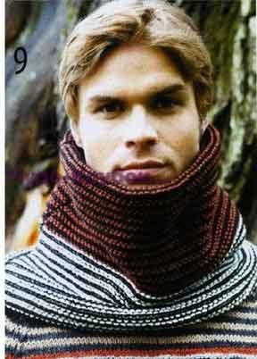 фото Трехцветный шарф-труба вязаный спицами 282