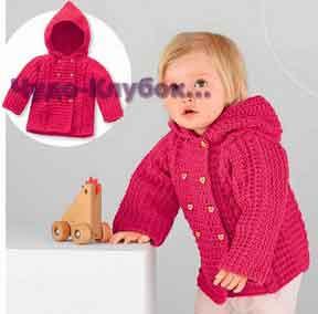фото Жакет с капюшоном для девочки вязаный спицами 12